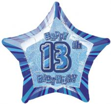 Blue Glitz 'Happy 13th Birthday' Foil Balloon